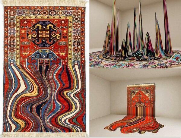تصاویر ، طرح های شگفت انگیز هنرمند اهل باکو با الهام از فرش آذربایجان