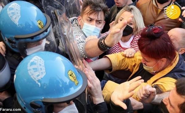 (تصاویر) درگیری پلیس ایتالیا با معترضان محدودیت هایی کرونایی