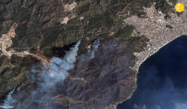 تصاویر ماهواره ای از وسعت آتش سوزی های ترکیه